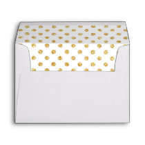 Gold Glitter Polka Dots Pattern Envelope
