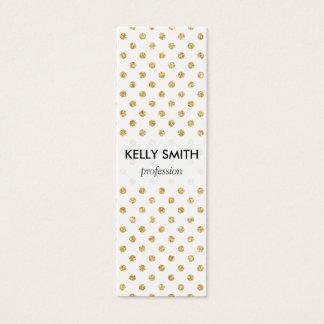 Gold Glitter Polka Dots Pattern Mini Business Card