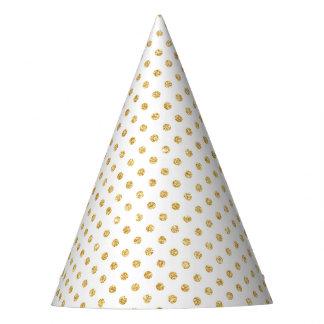 Gold Glitter Polka Dots Pattern Party Hat