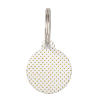 Gold Glitter Polka Dots Pattern Pet Name Tag