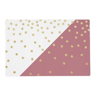 gold glitter polka dots pattern, pink triangles placemat