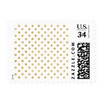 Gold Glitter Polka Dots Pattern Postage