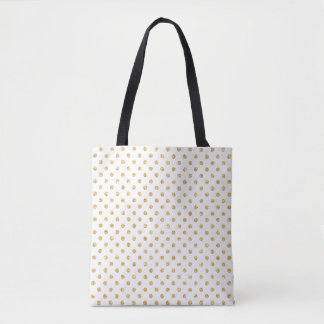 Gold Glitter Polka Dots Pattern Tote Bag