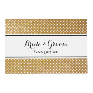 Gold glitter polka dots pattern wedding placemat laminated place mat