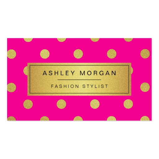 Gold Glitter Polka Dots - Stylish Beauty Pink Double-sided Standard Business Cards (pack Of 100)