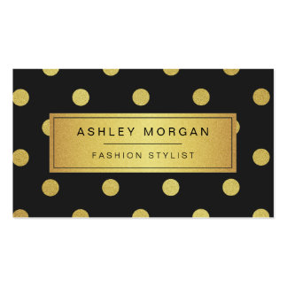 Gold Glitter Polka Dots - Trendy Black White Business Card