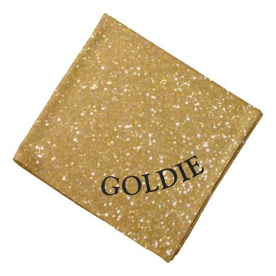 Gold glitter print dog bandana with pet name