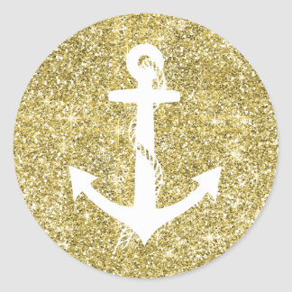 Gold Glitter Print Nautical Anchor Stickers