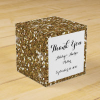 Gold Glitter Printed Favor Box