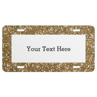 Gold Glitter Printed License Plate
