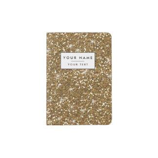 Gold Glitter Printed Passport Holder