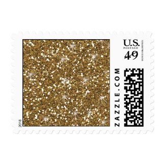 Gold Glitter Printed Postage Stamp