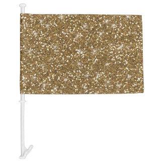 Gold Glitter Printed Car Flag