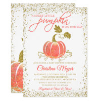 Gold Glitter Pumpkin Fall Baby Shower Invitation