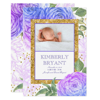 Gold Glitter Purple Floral Sweet Baby Girl Birth Card