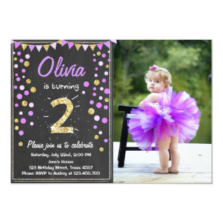 Gold glitter Purple Pink Birthday Invitation
