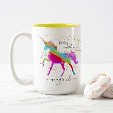 Coffee Themed Gold Glitter Rainbow Unicorn Today will be Magical Two-Tone Coffee Mug