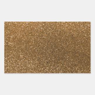 Gold glitter rectangular sticker