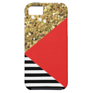 Gold Glitter, Red, Black & White iPhone 5/5S Case