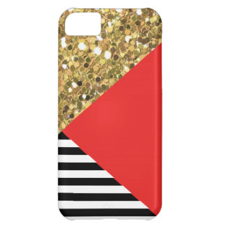 Gold Glitter, Red, Black & White iPhone 5C Case