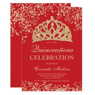 gold glitter red crown tiara Quinceañera Invitation