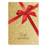 Gold Glitter Red Ribbon Wrapping Gift Certificates Large Business Card