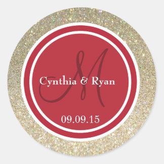 Gold Glitter & Red Wedding Monogram Sticker