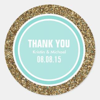 Gold Glitter & Robin Egg Green Thank You Label Classic Round Sticker