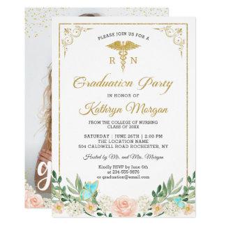 Gold Glitter Rose Garden Nursing Graduation Photo Card