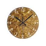 Gold Glitter Round Wallclocks