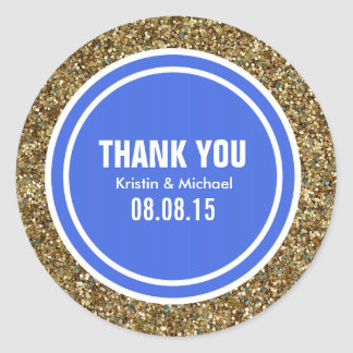 Gold Glitter Royal Blue Custom Thank You Label Round Stickers