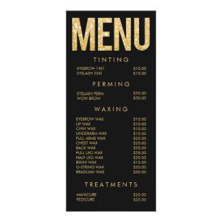 Gold Glitter Salon Beautician Menu Price List