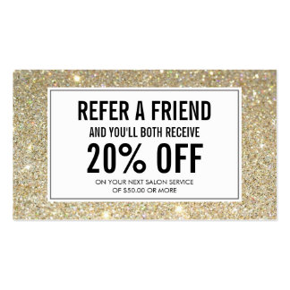 Gold Glitter Salon Referral Card Double-Sided Standard Business Cards (Pack Of 100)
