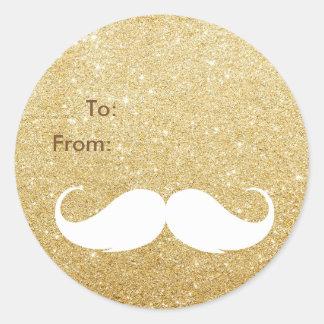 Gold Glitter Santa Mustache Holiday Gift Tag Classic Round Sticker