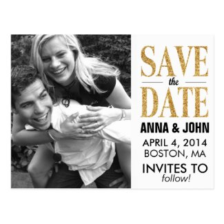 Gold Glitter Save The Date Announcement Postcard