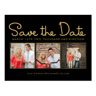 Gold Glitter Save the Date Photo Frame Postcard