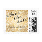 Gold Glitter Save the Date Postage Stamp