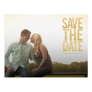 Gold Glitter Save the Date Typography Announcement Postcard
