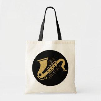 Gold Glitter Saxophon Illustration Custom text Tote Bag