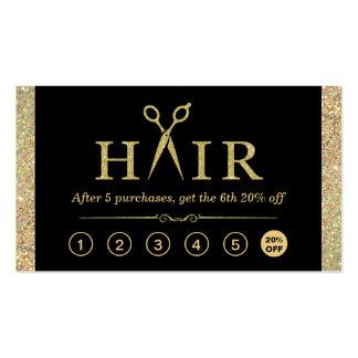 Gold Glitter Scissors Hair Salon Loyalty Punch Business Card