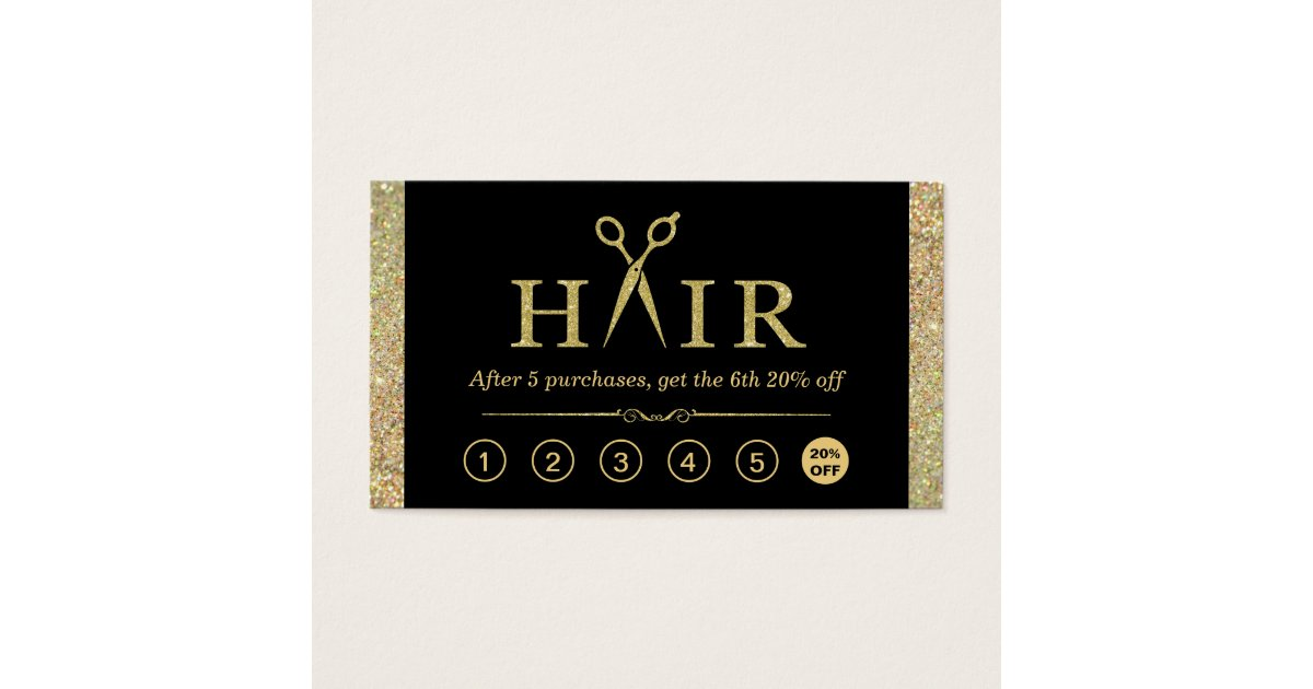 Gold Glitter Scissors Hair Salon Loyalty Punch Business Card ...