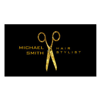 Gold Glitter Scissors Hair Stylist Appointment #2 Business Card
