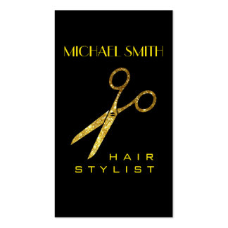 Gold Glitter Scissors Hair Stylist Appointment Business Card