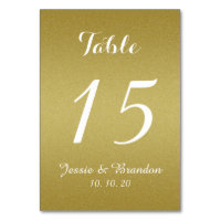 Gold Glitter Script Wedding Table Number Card