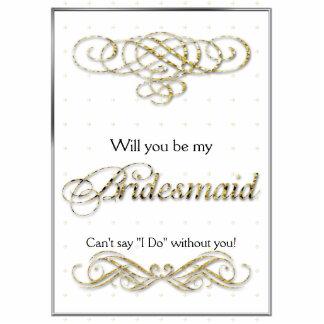 Gold Glitter Scroll Bridesmaid Gift Cutout