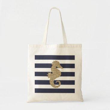 Beach Themed Gold Glitter Seahorse Navy White Stripes Tote Bag