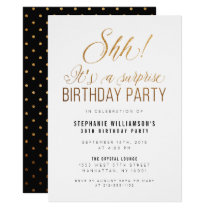 Gold Glitter Shh! It's A Surprise Birthday Party Card
