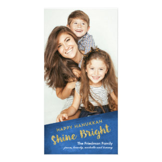 Gold Glitter Shine Bright Happy Hanukkah Card