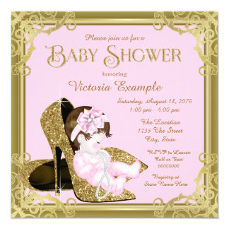 Gold Glitter Shoe Pink and Gold Baby Shower Card