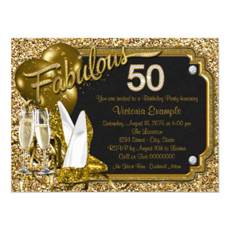 Gold Glitter Shoes Fabulous 50 Birthday Party Card